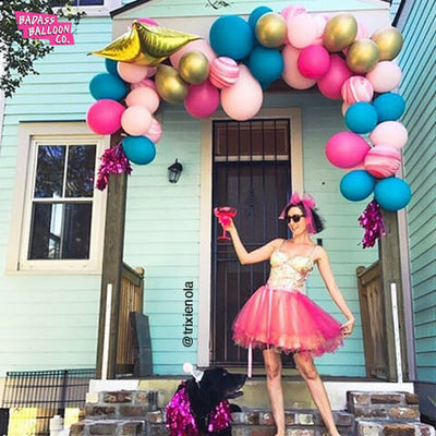 Beautiful Balloon Garland blue, pink and gold by Badass Balloon Co - party decoration