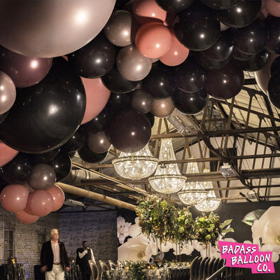 Birthday decoration: giant balloon garland with dark colors - by Badass Balloon Co