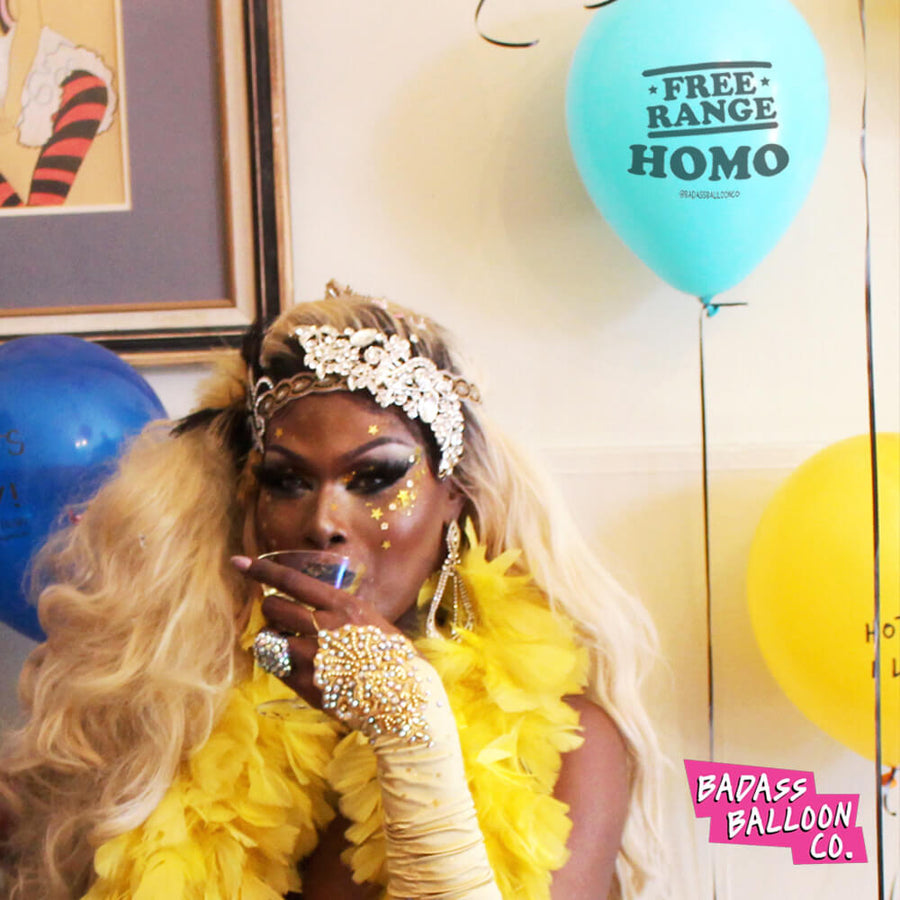 FREE RANGE HOMO Pride and Birthday Balloons