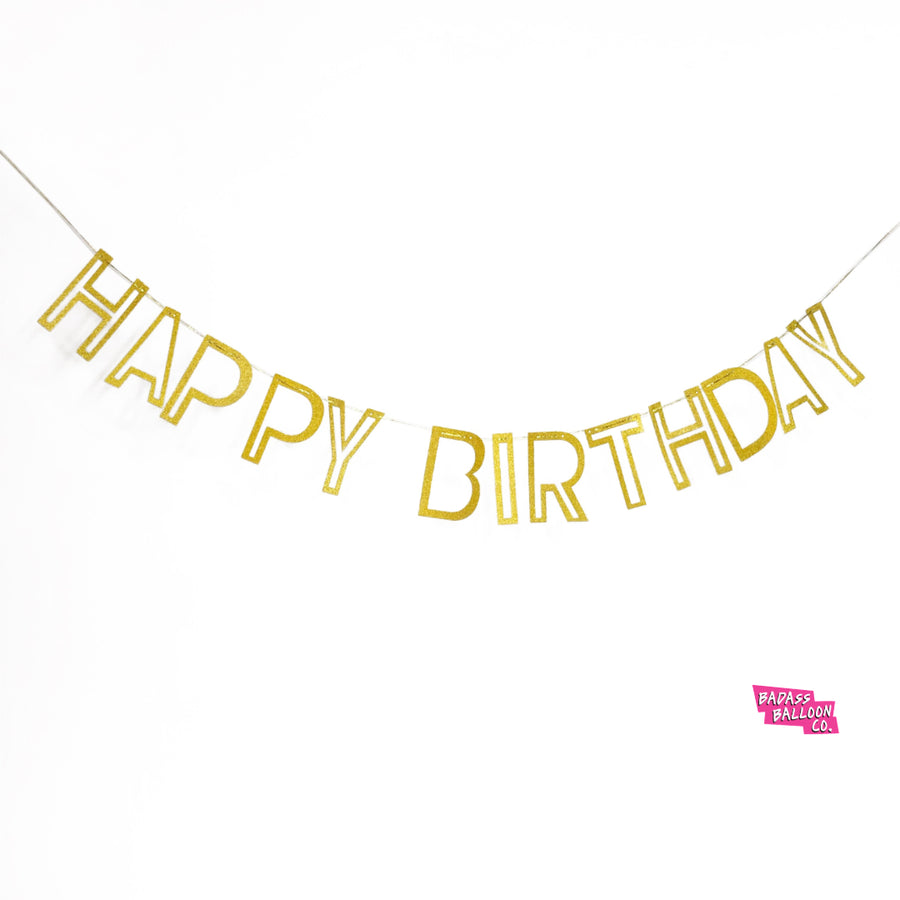 Gold Glitter Happy Birthday Paper Party banner and bunting
