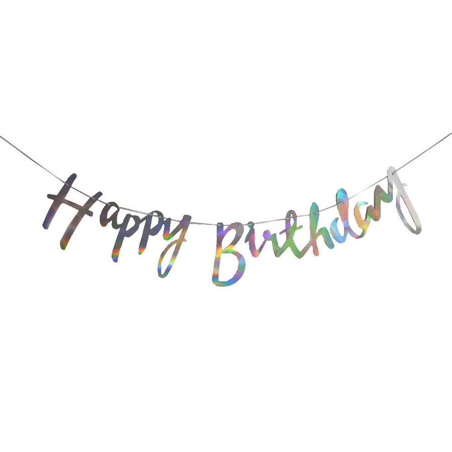 Metallic Script Happy Birthday Paper Party banner and bunting