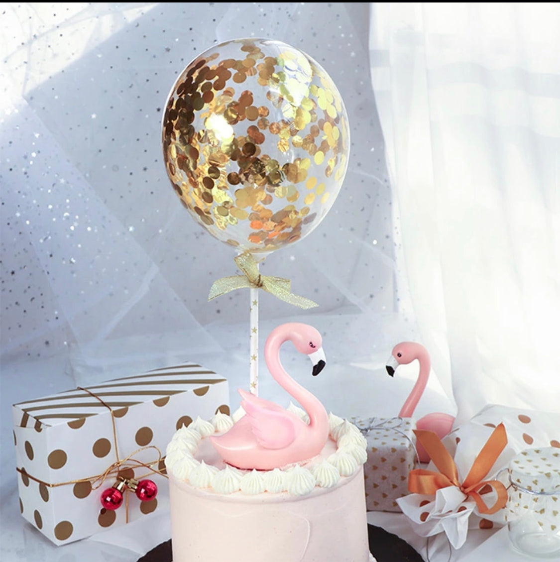 Round Mini Confetti Balloon Cake Topper - Badass Balloon Co.