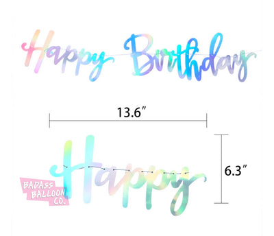 Iridescent Happy Birthday Bunting and Paper Pom Pom