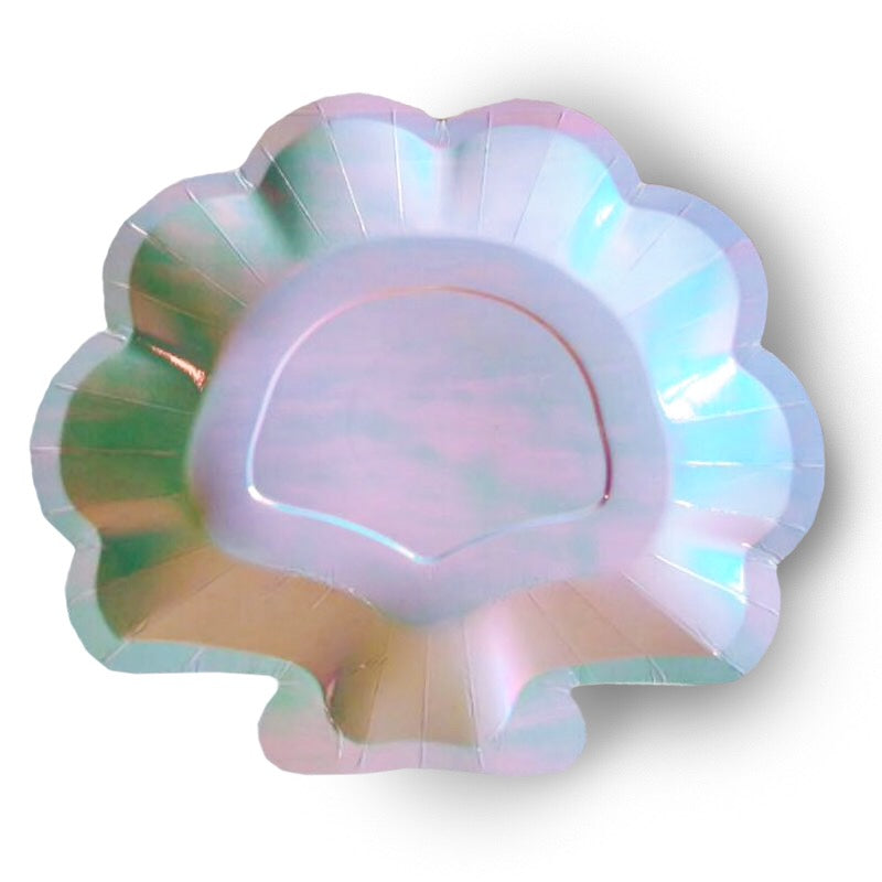 Iridescent Sea Shell Cake Plate-set of 8- recycled paper