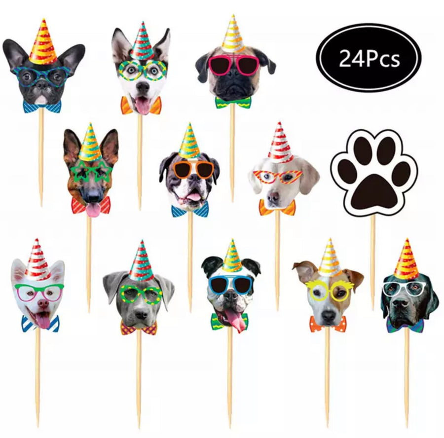 Dog Birthday Paper Party Garland and Cupcake Picks banner and bunting