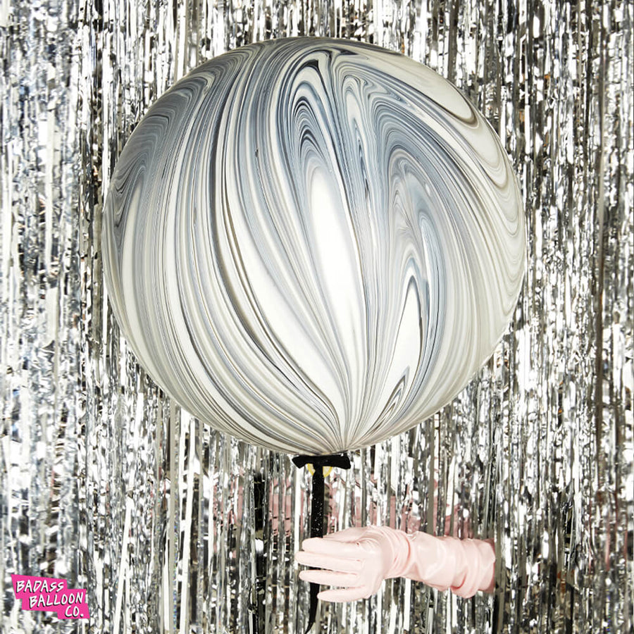 Black and White Jumbo Marble Balloons with Gold Holographic Tassels
