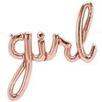 "Rose gold ""Girl"" Script Balloon"