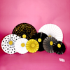 Black, Gold, and White Paper Flower Fan Hanging Decor 8 Piece Set