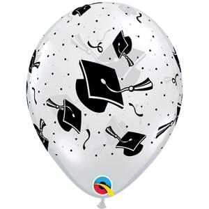 Graduation 12 pack Clear Balloon With graduation cap balloons
