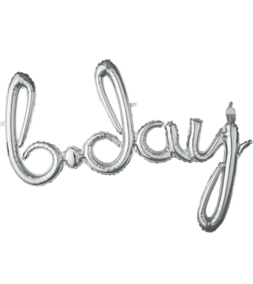 "Silver ""B-DAY"" Script Balloon"