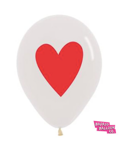 5 pack Clear Balloon With Red Heart Valentine's Day Balloons