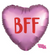 """BFF"" Heart Shaped Pink Matte Mylar Balloons"