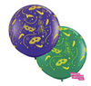 Pair of Jumbo Mardi Gras Balloons Purple and Green With Gold Tassels