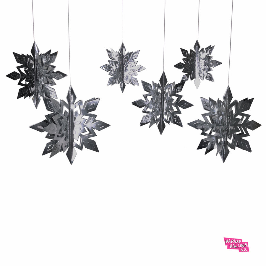 3D Silver Snowflake Hanging Decor
