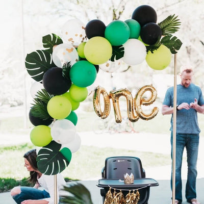 Balloon Garland with Leaves Decoration