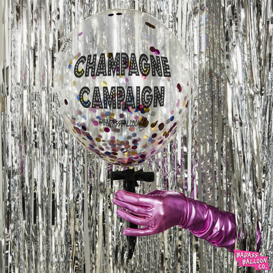 Champagne Campaign Confetti Balloon - by Badass Balloon Co