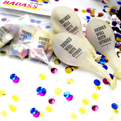 Drinks Well With Others Confetti Balloons 3 pack - badassballoonco