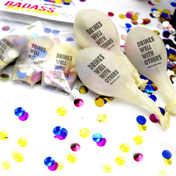 Drinks Well With Others Confetti Balloon - by Badass Balloon Co