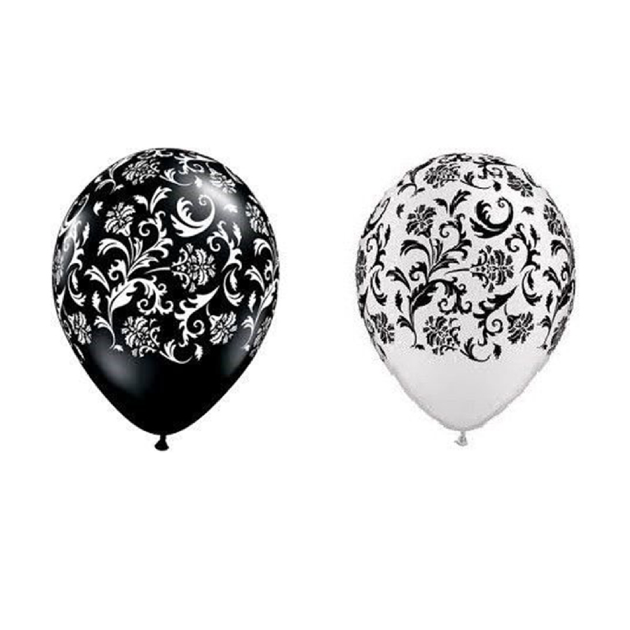 Black and White Damask 11 inch balloons - badassballoonco