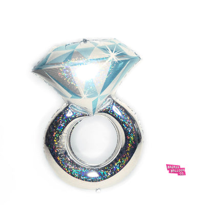 Large Bling Holographic Diamond Engagement Ring Foil Balloon