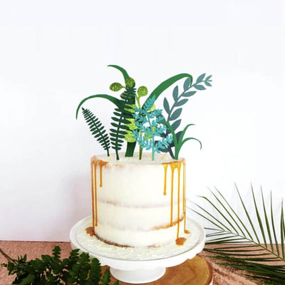 Welcome to the Jungle Green Leaf Cake Topper