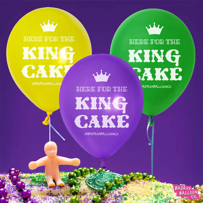 Here for The King Cake Mardi Gras Badass Balloon Pack | Mardi Gras Party Decor