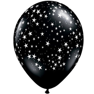 Celestial Black and White Star 11 inch latex balloons