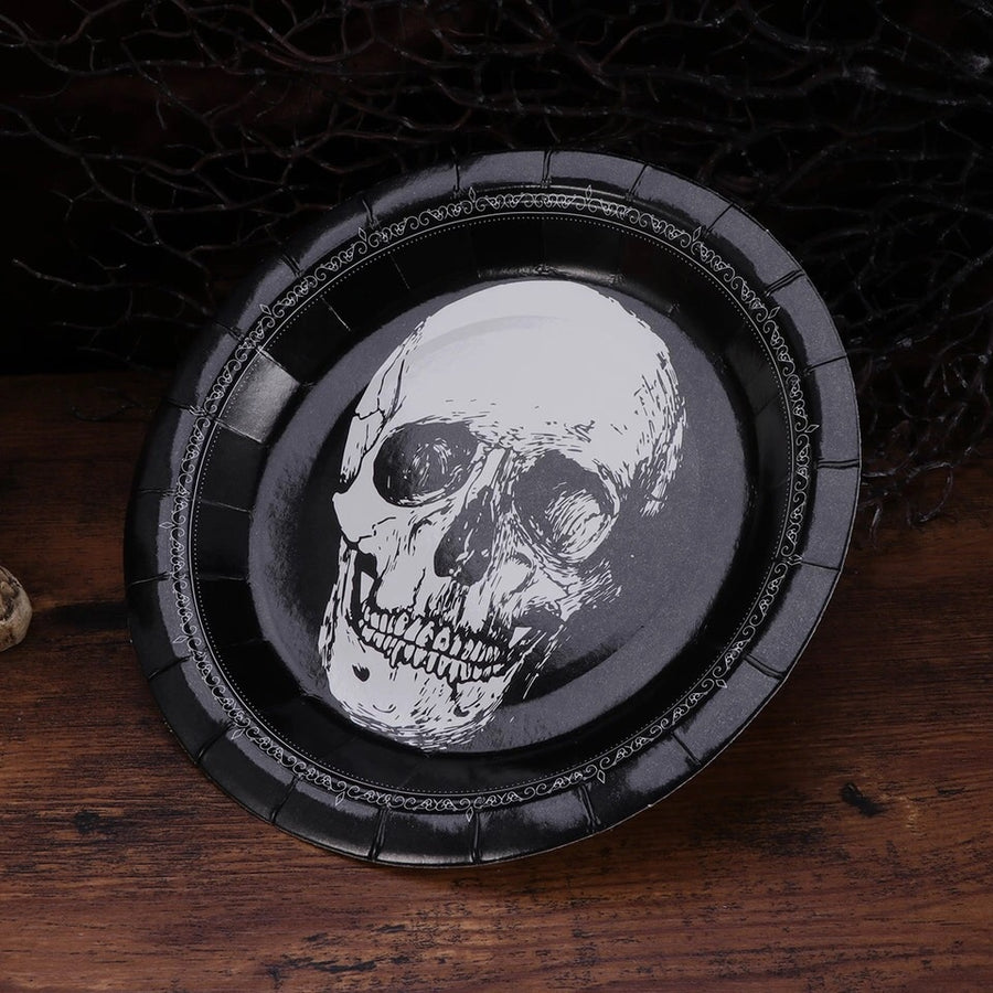 Black and White skull plates -set of 10- recycled paper