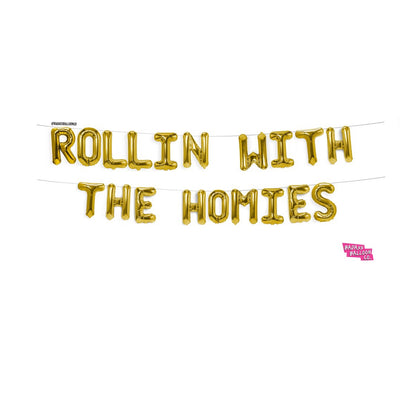"""Rollin' With the Homies"" Block Phrase Script Balloon Thanksgiving Friendsgiving"