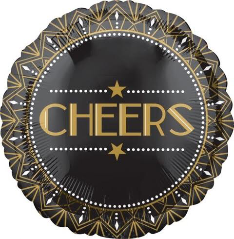Art Deco CHEERS New Years balloons. Roaring Twenties party decor.