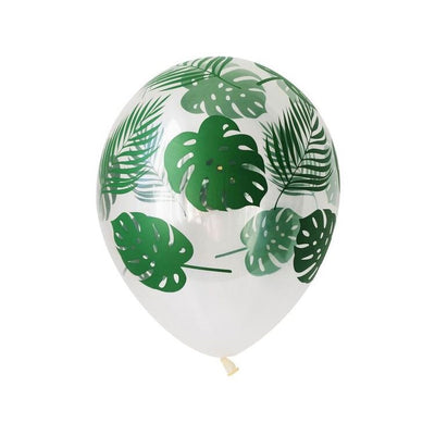 Clear Tropical Green Leaf Printed balloons