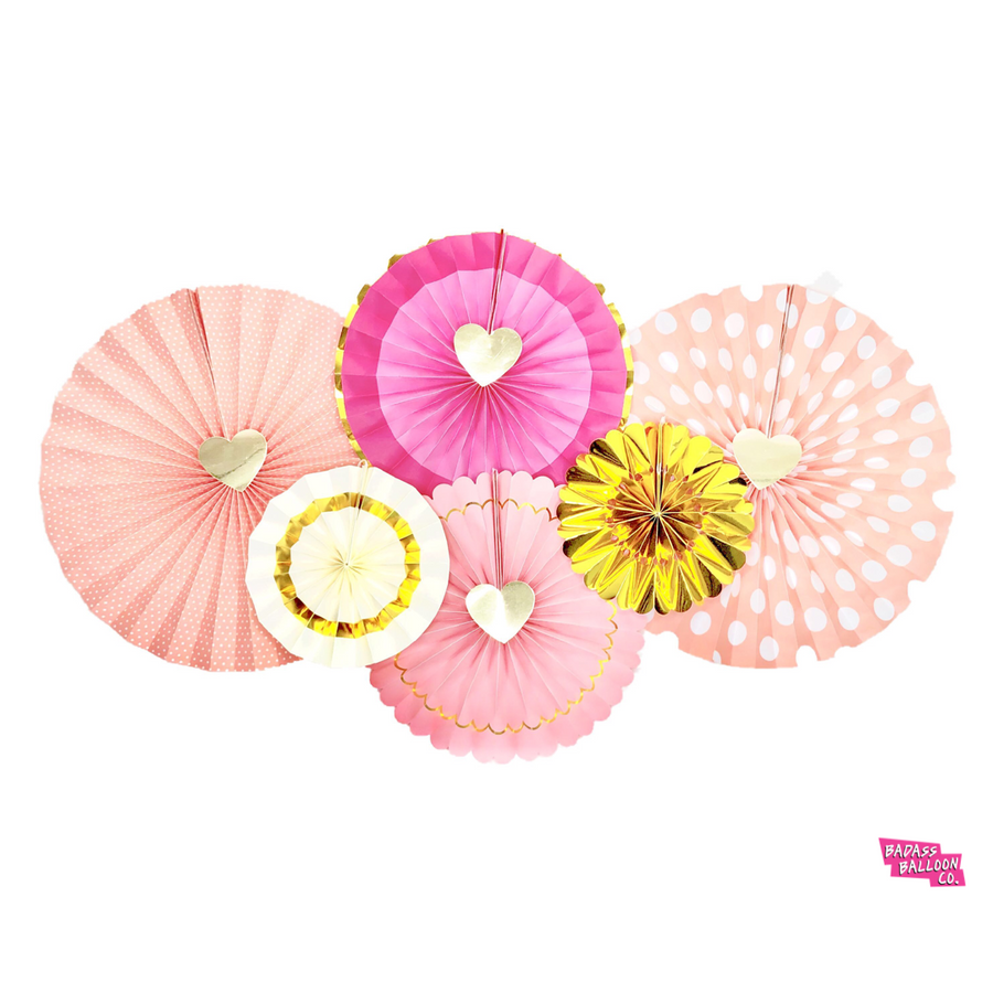 Pink, White, and Gold Paper Fan Heart Center Hanging Decor 8 Piece Set