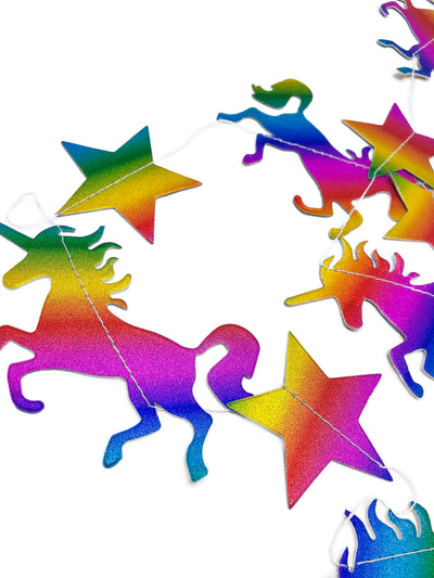 Rainbow Unicorn paper Party banner and bunting