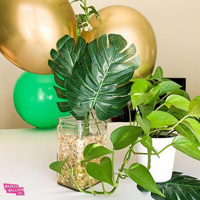 Gold and Green Ballon and Leaves Decor Monstera Leaves