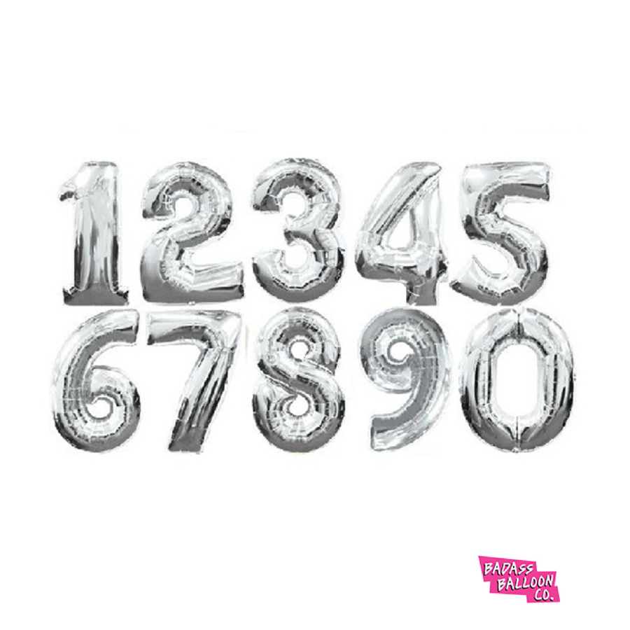 Giant Number Balloons in Silver