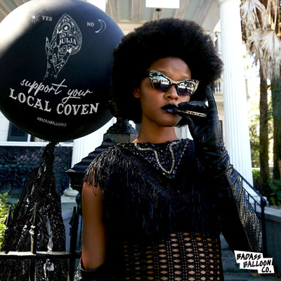 Support Your Local Coven Halloween Jumbo Black Balloo
