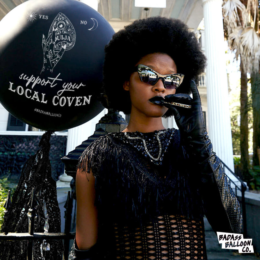 Support Your Local Coven Halloween Jumbo Black Balloon