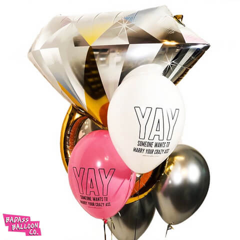 Bling Gold Diamond Engagement Ring Foil Balloon