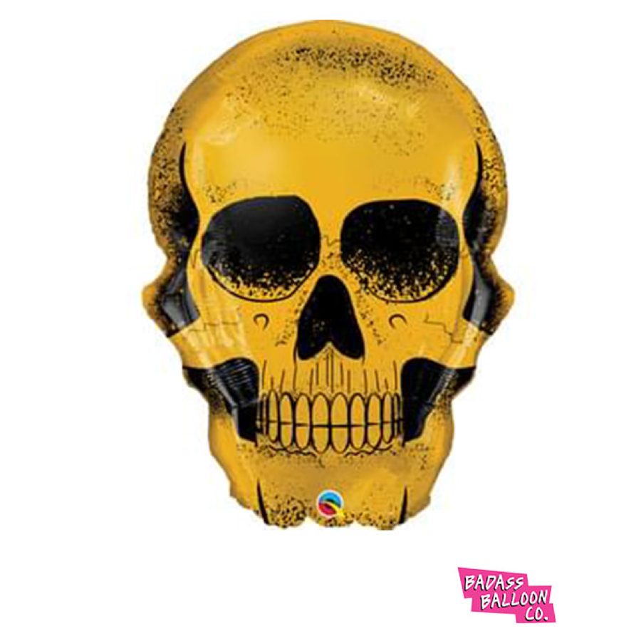 Gold Dipped Skull Super Shape Balloon - badassballoonco
