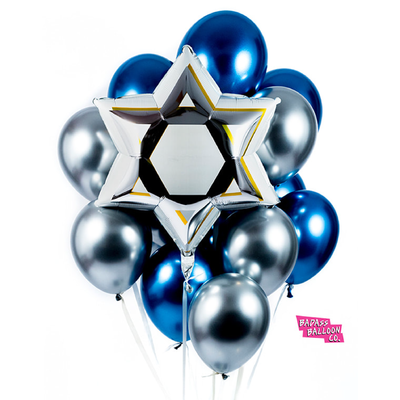 Star of David Hanukkah Balloon - badassballoonco
