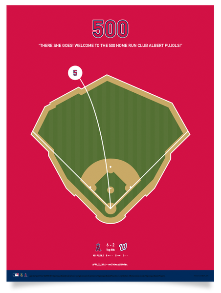 "Angels Albert Pujols 500 Home Runs - 12"" x 16"" Print"