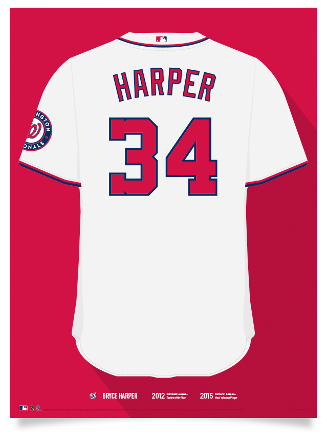 buy popular 6a1aa 1fc7d Nationals Bryce Harper Jersey Print