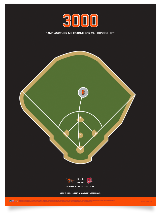 Orioles Ripken's 3,000th Hit Print