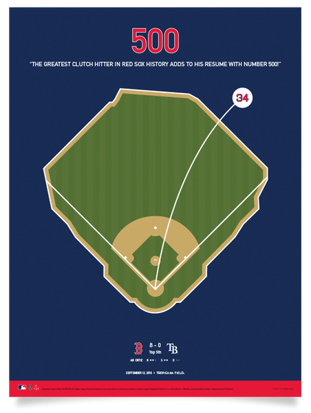 Red Sox Ortiz 500 Home Runs Print