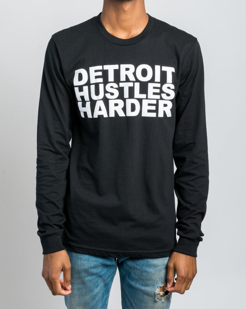 Long Sleeve T-Shirt White Print, Long Sleeve, DETROIT HUSTLES HARDER® - DETROIT HUSTLES HARDER®