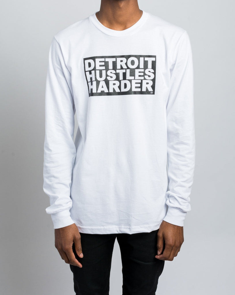 Long Sleeve T-Shirt Box Logo Print, Long Sleeve, DETROIT HUSTLES HARDER® - DETROIT HUSTLES HARDER®
