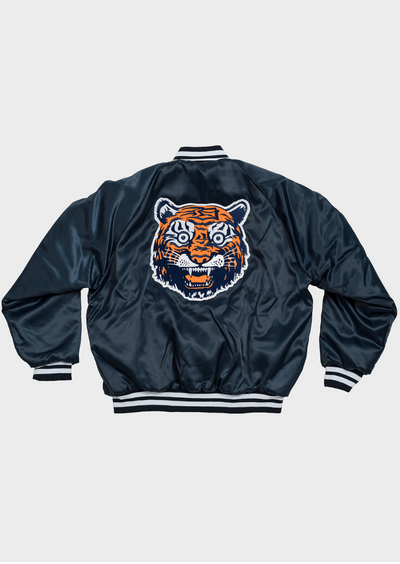 Tiger Face Satin Jacket, Jacket, DETROIT HUSTLES HARDER® - DETROIT HUSTLES HARDER®