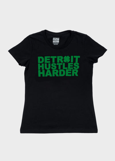 ST. PATRICKS DAY EDITION - BLACK, T-SHIRT, DETROIT HUSTLES HARDER® - DETROIT HUSTLES HARDER®