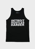 Fine Jersey Tank White Print, Tank Top, DETROIT HUSTLES HARDER® - DETROIT HUSTLES HARDER®