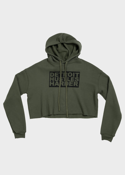 Cropped Fleece Hoodie Box Logo Design, Cropped Hoodie, DETROIT HUSTLES HARDER® - DETROIT HUSTLES HARDER®